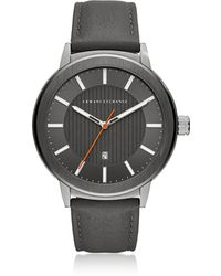 Armani Exchange - Aix Grey Dial And Grey Leather Men's Watch - Lyst