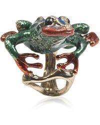 Bernard Delettrez Long Froggy Bronze Ring W/ Enamel - Green