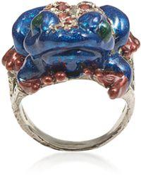 Bernard Delettrez - Silver Froggy Ring W/ Pavé Red Sapphires And Blue Enamel - Lyst