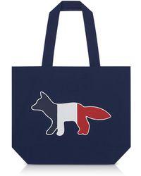 Maison Kitsuné - Tricolor Fox Patch Canvas Tote Bag - Lyst