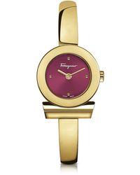 Ferragamo Gancino Gold IP Damenuhr aus Edelstahl mit Zifferblatt in burgund - Mettallic