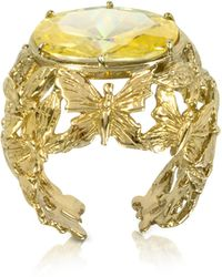 Bernard Delettrez - Bronze Dome Ring W/butterflies And Yellow Cubic Zirconia - Lyst