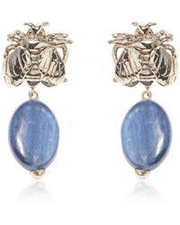 Bernard Delettrez Bee Bronze Earrings W/ Cianite - Blue