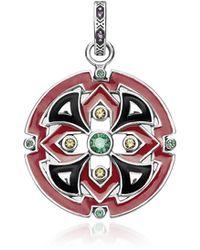 Thomas Sabo Asian Ornaments Charm Rotondo in Argento 925 Smaltato Rosso e Zirconi - Metallizzato