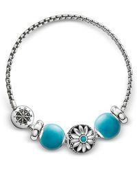 Thomas Sabo Blackened Sterling Silver Bracelet w/Turquoise Howlite Beads - Mettallic