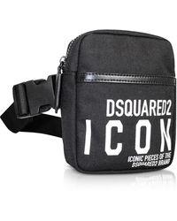 DSquared² New Icon Black Nylon Vertical Belt Bag - Negro