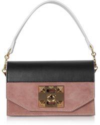 Salar Kio Colour Block Leather Shoulder Bag - Black