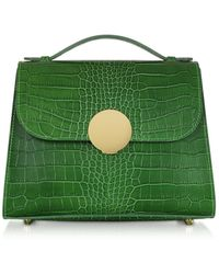 Le Parmentier Bombo Croco Embossed Leather Top-handle Satchel Bag W/strap - Green