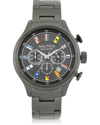 Nautica - Nct 16 Brushed Gunmetal Stainless Steel Men's Chronograph Watch - Lyst