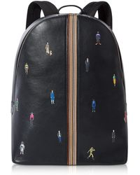 Paul Smith - Men's Navy Blue Leather Signature Stripe And People Backpack - Lyst
