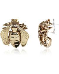Bernard Delettrez Big Bee Bronze Earrings - Metallic