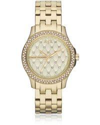 Armani Exchange - Lady Hampton Gold Tone Women's Watch - Lyst