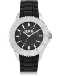 Versus Tokyo Silver Tone Stainless Steel And Black Rubber Men's Watch - Metallic