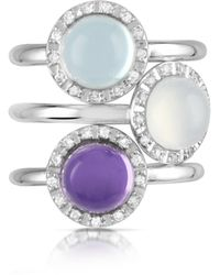 Mia & Beverly - Gemstone And Diamond 18k White Gold Ring - Lyst