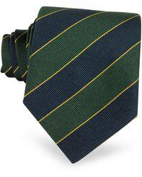 FORZIERI Cravatta in seta a bande blu navy e verde