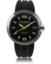 LOCMAN One Black PVD Stainless Steel Chronograph Men's Watch w/Leather and Silicone Band Set - Schwarz