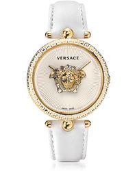 Versace Palazzo Empire Reloj Unisex Blanco de Acero Inoxidable con Correa de Cuero y Medusa Dorada - Metálico