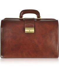FORZIERI - Dark Brown Italian Leather Buckled Medium Doctor Bag - Lyst