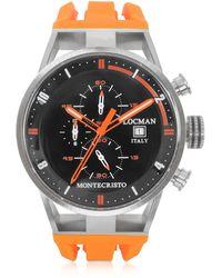 LOCMAN Montecristo Reloj para Hombre de Acero Inoxidable y Titanio con Correa de Silicona Naranja - Negro