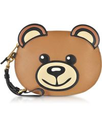 Moschino Teddy Bear Leather Pouch - Brown