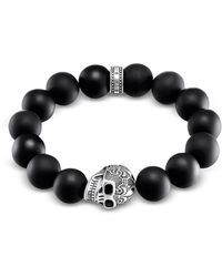 Thomas Sabo - Power Skull Sterling Silver Men's Bracelet W/obsidian Matt Beads - Lyst