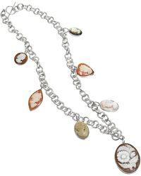 Mia & Beverly Cameo Charm Necklace - Metallic