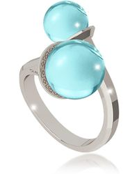 Rebecca - Boulevard Stone Rhodium Over Bronze Contrarié Ring W/hydrothermal Turquoise Stones - Lyst