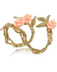 Bernard Delettrez Two Fingers Leafy Ring aus Bronze mit 3 pinkfarbenen Rosen - Mettallic
