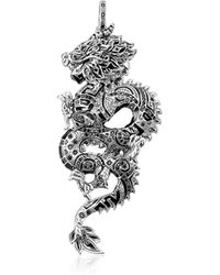 Thomas Sabo Blackened Sterling Silver Dragon Pendant w/Black Cubic Zirconia - Mettallic