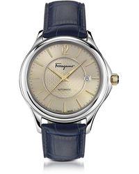 Ferragamo Ferragamo Time Automatik-Herrenuhr aus Edelstahl in silber mit krokogeprägtem Armband in blau