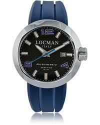 LOCMAN Change Stainless Steel Round Case Automatic Men's Watch w/ Silicone & Leather Straps - Blau