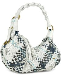 Fontanelli - Blue & White Woven Leather East/west Hobo Bag - Lyst