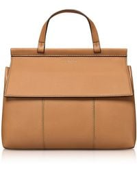 Tory Burch - Block-t British Tan Leather Top Handle Satchel Bag - Lyst