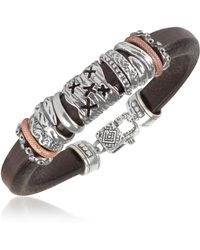 Tedora Armband aus Leder und Silber - Mettallic