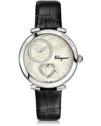 Ferragamo Cuore Ferragamo Damenuhr aus Edelstahl mit Nieten und Herz an krokogeprägtem Armband in schwarz - Mettallic