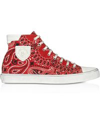Saint Laurent Bedford Sneakers In Bandana-print Canvas - Red