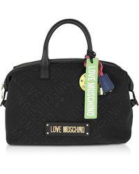 Love Moschino Black Signature Canvas Satchel Bag