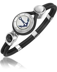 FORZIERI - Anchor & Compass Stainless Steel And Rubber Bracelet - Lyst