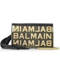 Balmain - Khaki Glittered Shiny Leather Clutch W/chain Strap And Metallic Logo - Lyst