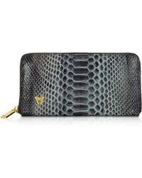Ghibli Python Leather Zip Around Continental Wallet - Negro