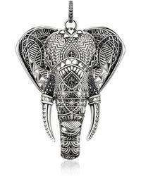 Thomas Sabo Blackened Sterling Elephant Pendant w/Onyx and Zirconia - Metálico