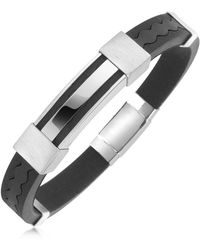 FORZIERI Rubber And Stainless Steel Bracelet - Black