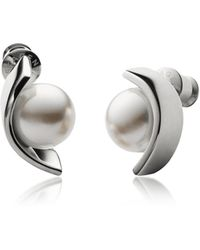 Skagen Glass Pearls And Stainless Steel Agnethe Women's Earrings - Metallic