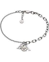 Emporio Armani Silver Logo Charm Bracelet - Metallic