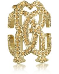 Roberto Cavalli - Rc Icon Light Gold Ring W/crystals - Lyst