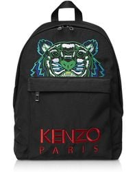 KENZO - Black Embroidered Tiger Backpack - Lyst