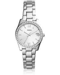 Fossil Scarlette Three-Hand Date Stainless Steel Women's Watch - Mettallic