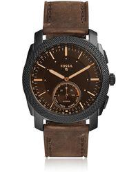 Fossil - Hybrid Smartwatch - Q Machine Dark Brown Leather - Lyst