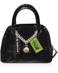 Versace Jeans Printed Logo Top Handle Bag w/ Charms - Negro