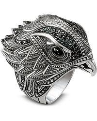 Thomas Sabo Blackened Sterling Silver Ring w/Black Cubic Zirconia - Mettallic